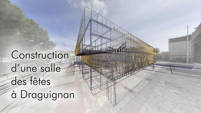 Construction d'une salle des fêtes à Draguignan;Etude pour l'aire de Séverac le chateau;aire du viaduc de millau, attractivité;Usine du May à Thiers, Turbine et dynamo;La production d'énergie dans un barrage Hydroélectrique